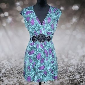 ECI Purple and Blue Pasley Dress or Blouse SZ Med